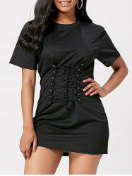 Short Sleeve Lace-Up Bodice Layered T-shirt Dress