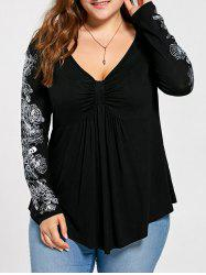 Floral Pattern Long Sleeve Plus Size Draped T-shirt