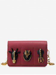 Rivets Chain Faux Leather Crossbody Bag