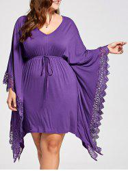 Plus Size Lace Panel Butterfly Sleeve Kaftan Dress