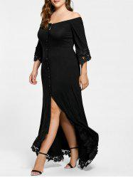 Lace Insert Off The Shoulder Plus Size Maxi Dress