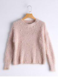 Faux Pearl Embellished Knit Sweater - LIGHT PINK