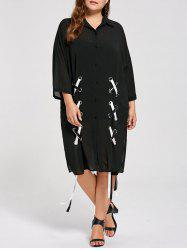 Sheer Plus Size Lace Up Chiffon Shirt Dress