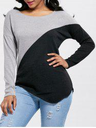 Asymmetrical Drop Shoulder Two Tone Knitwear