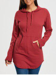 Drop Shoulder Plain Kangaroo Hoodie