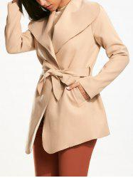 Plain Belted Wrap Coat with Pockets
