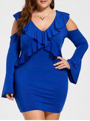 Ruffled Cold Shoulder Plus Size Mini Dress