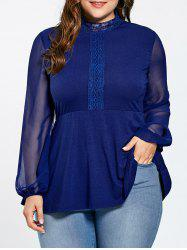 Plus Size See Thru Lace Panel High Neck Top