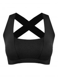 Padded Bandage Criss Cross Sports Bra - BLACK M