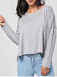 Pullover Drop Shoulder Slit High Low Top - GRAY 2XL