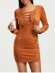 Criss Cross Plunging Neckline Faux Suede Tight Dress -