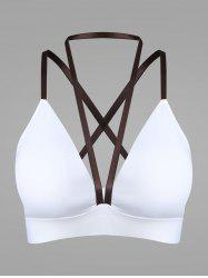 Cross Back Plunge Sports Strappy Bra - Blanc L