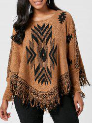 Batwing Graphic Sweater with Fringes - BROWN ONE SIZE