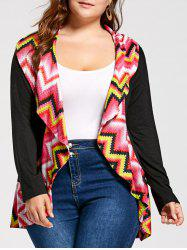 Long Sleeve Colorful Zig Zag Plus Size Cardigan - COLORMIX XL