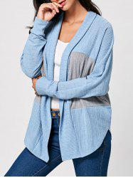 Two Tone Open Front Long Sleeve Cardigan - COLORMIX L