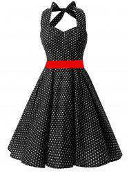 Vintage Backless Halter Polka Dot Skater Dress - Noir M