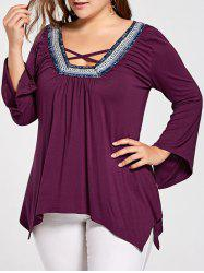 Plus Size Tribal Chevron Criss Corss Handkerchief Top -