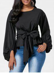 Belted Puff Sleeve Blouse -