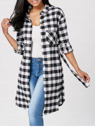 Long Sleeve Plaid Flannel Shirt with Belt -
