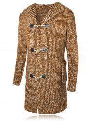 Claw Button Hooded Heathered Cardigan -