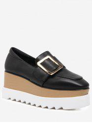 D-Buckle Accent Square Toe Platform Shoes -
