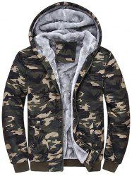 Zip Up Flocking Hooded Camouflage Jacket -