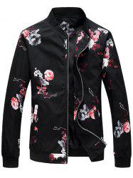 Flower Pattern Zip Up Bomber Jacket -