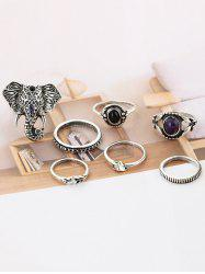 7 PCS Bohemia Elephant Eye Rings -