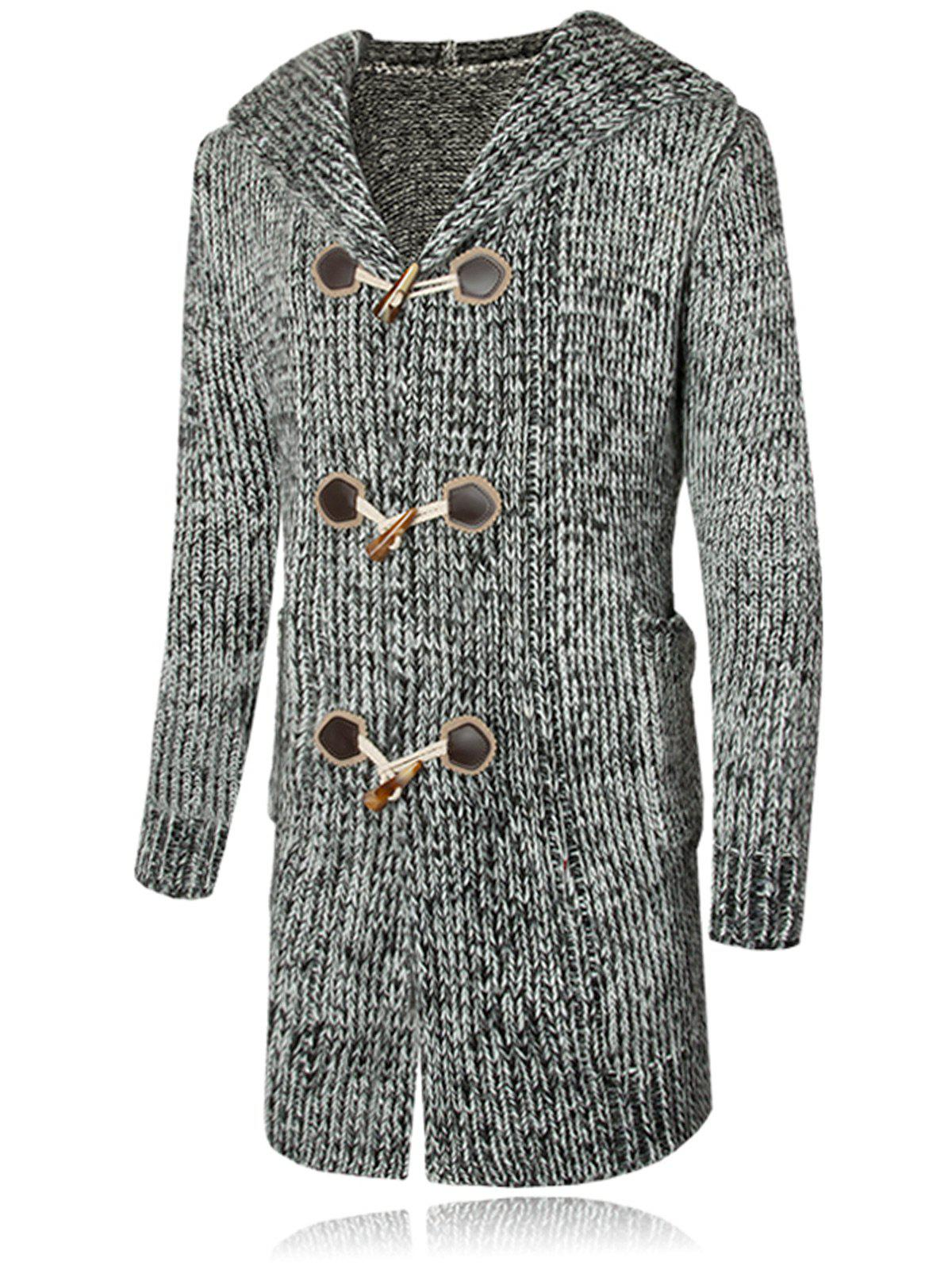 Discount Claw Button Hooded Heathered Cardigan