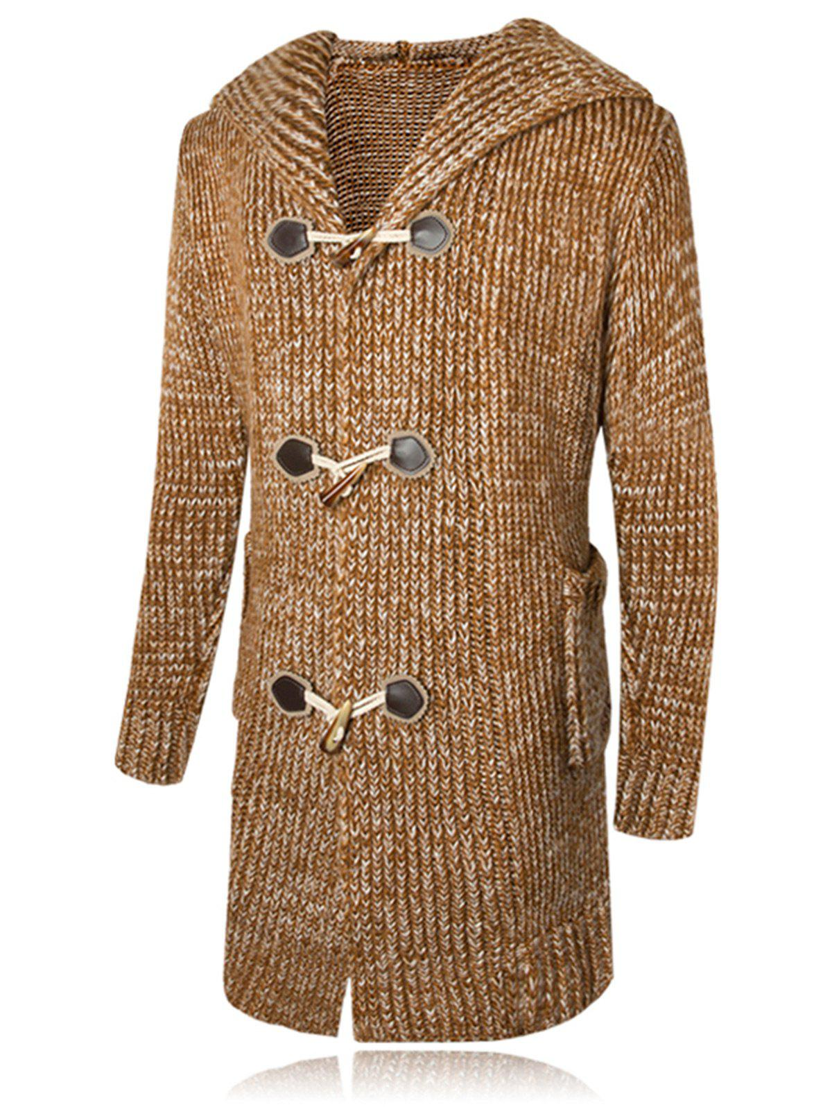 Outfits Claw Button Hooded Heathered Cardigan