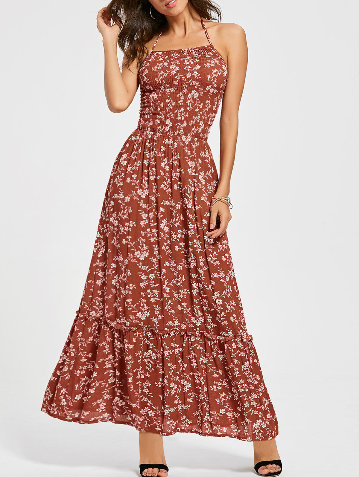 Outfits Back Lace Up Floral Halter Maxi Sundress