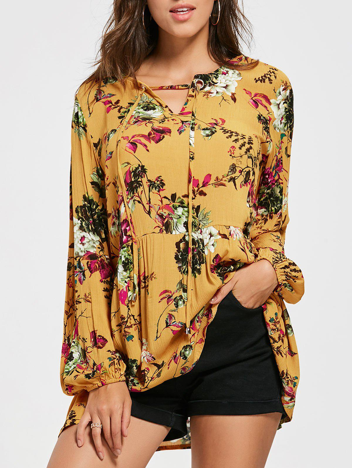 Eyelet Floral Print Tunic BlouseWOMEN<br><br>Size: XL; Color: YELLOW; Style: Casual; Material: Polyester,Spandex; Shirt Length: Regular; Sleeve Length: Full; Collar: V-Neck; Pattern Type: Floral; Season: Fall,Spring; Weight: 0.2500kg; Package Contents: 1 x Blouse;