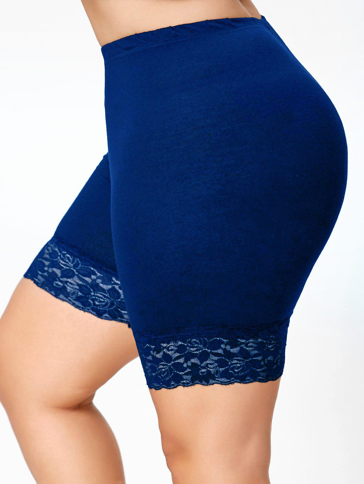 Lace Trim Plus Size Short LeggingsWOMEN<br><br>Size: 5XL; Color: BLUE; Style: Active; Length: Short; Material: Cotton,Polyester,Spandex; Fit Type: Skinny; Waist Type: High; Closure Type: Elastic Waist; Pattern Type: Solid; Embellishment: Lace; Pant Style: Pencil Pants; Weight: 0.1760kg; Package Contents: 1 x Leggings;