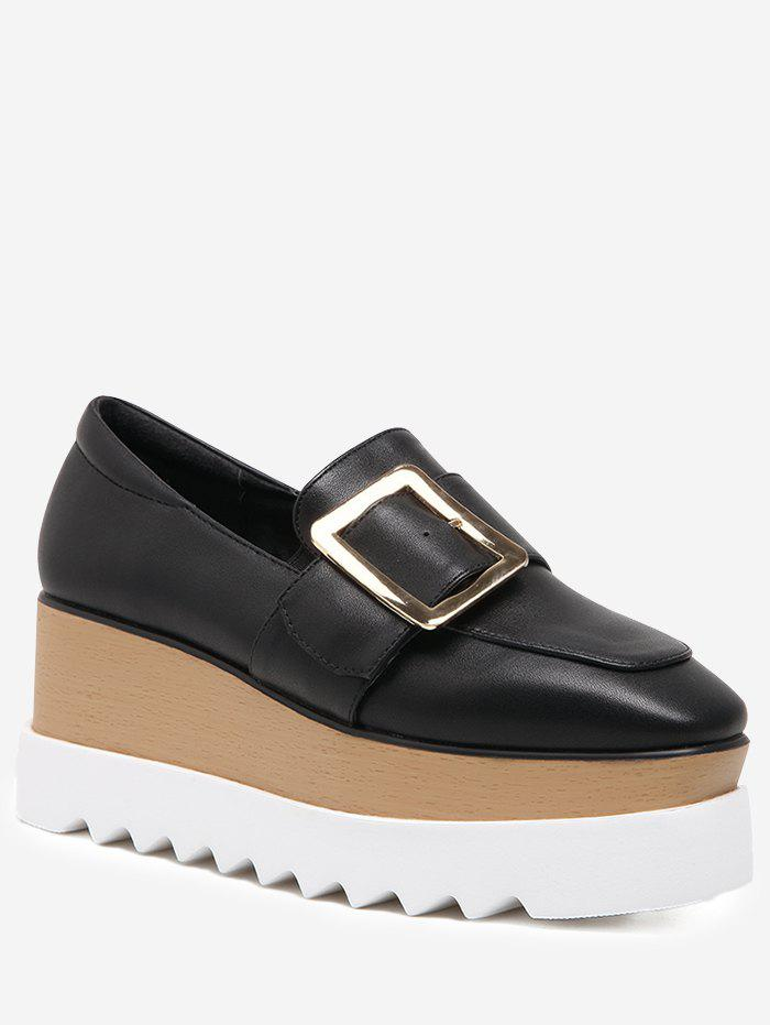 Hot D-Buckle Accent Square Toe Platform Shoes