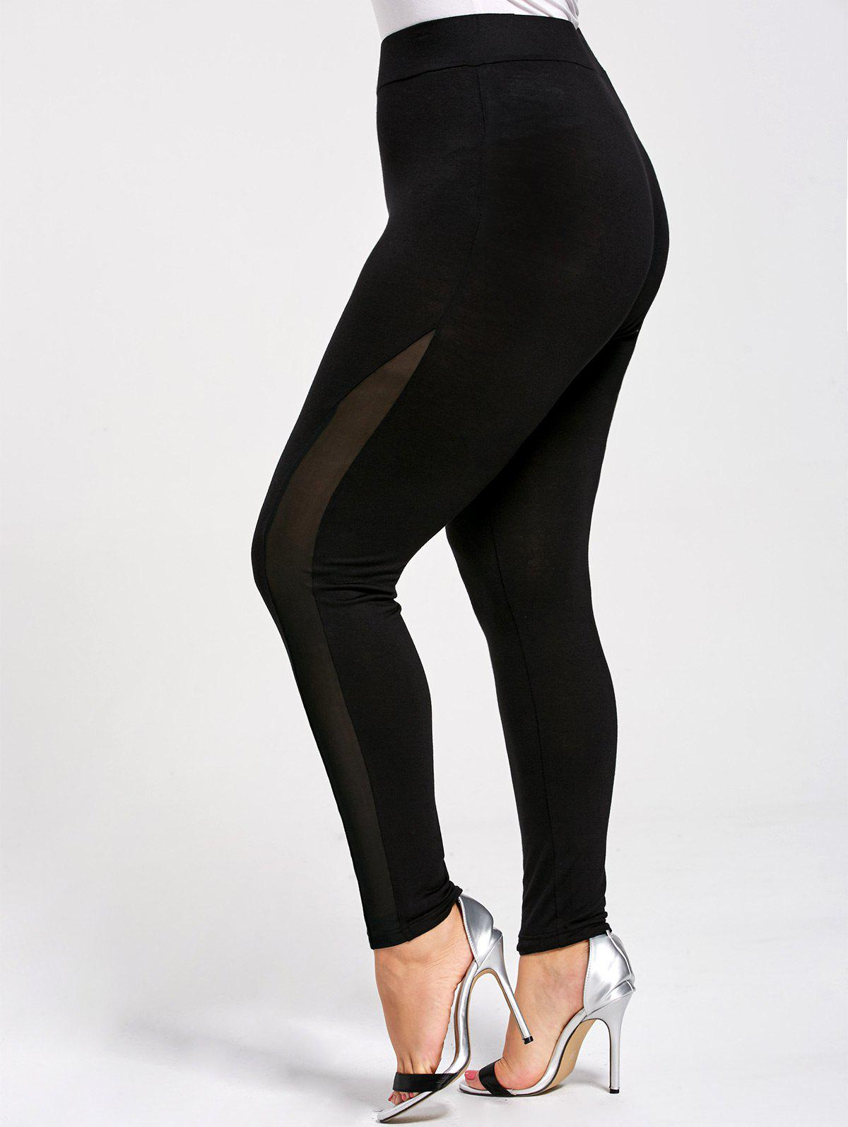 Mesh Panel Plus Size Skinny LeggingsWOMEN<br><br>Size: 4XL; Color: BLACK; Style: Active; Length: Normal; Material: Cotton,Spandex; Fit Type: Skinny; Waist Type: High; Closure Type: Elastic Waist; Pattern Type: Solid; Pant Style: Pencil Pants; Weight: 0.2700kg; Package Contents: 1 x Leggings;