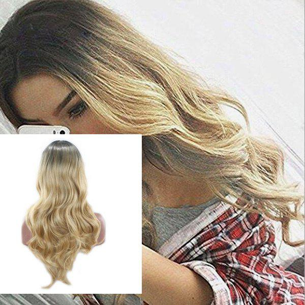 Long Center Parting Layered Wavy Ombre Synthetic WigHAIR<br><br>Color: COLORMIX; Type: Full Wigs; Cap Construction: Capless; Style: Wavy; Material: Synthetic Hair; Bang Type: Middle; Length: Long; Length Size(CM): 60; Weight: 0.2000kg; Package Contents: 1 x Wig;