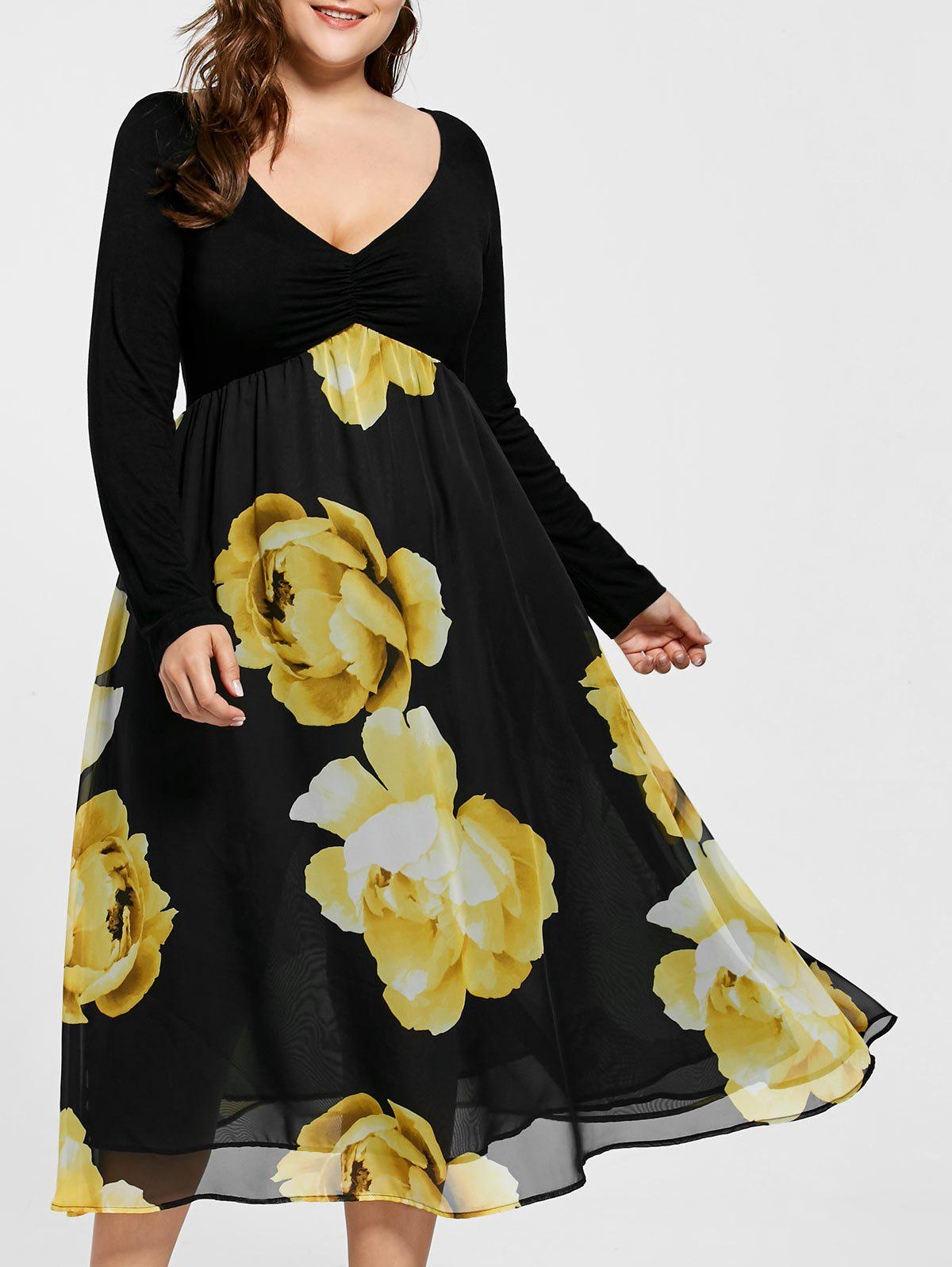 Empire Waist Floral Plus Size Midi DressWOMEN<br><br>Size: 5XL; Color: YELLOW; Style: Brief; Material: Polyester; Silhouette: A-Line; Dresses Length: Mid-Calf; Neckline: V-Neck; Sleeve Length: Long Sleeves; Pattern Type: Floral; With Belt: No; Season: Fall,Spring; Weight: 0.4200kg; Package Contents: 1 x Dress;