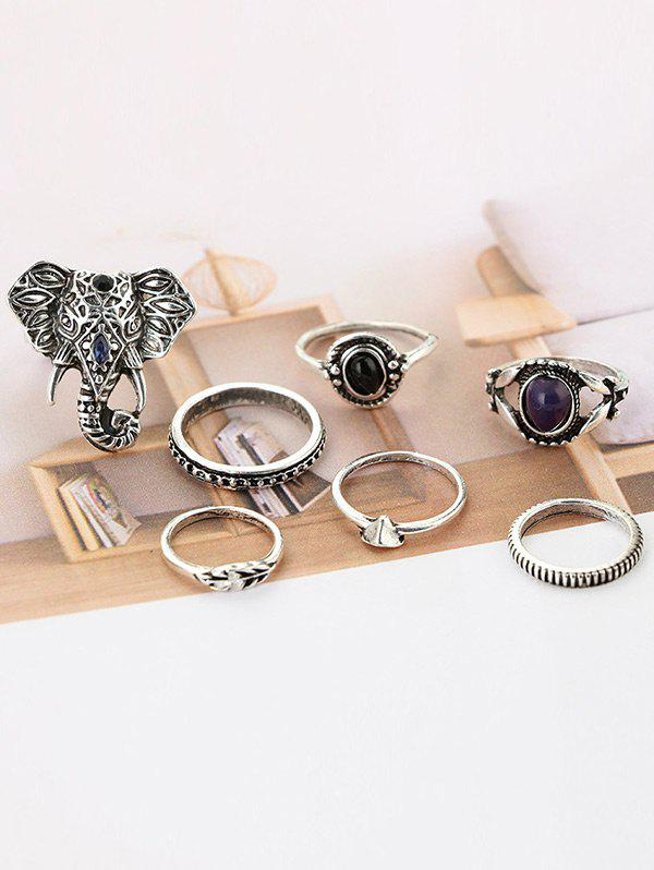 7 PCS Bohemia Elephant Eye RingsJEWELRY<br><br>Color: SILVER; Gender: For Women; Metal Type: Alloy; Style: Classic; Shape/Pattern: Others; Weight: 0.0400kg; Package Contents: 7 x Rings;