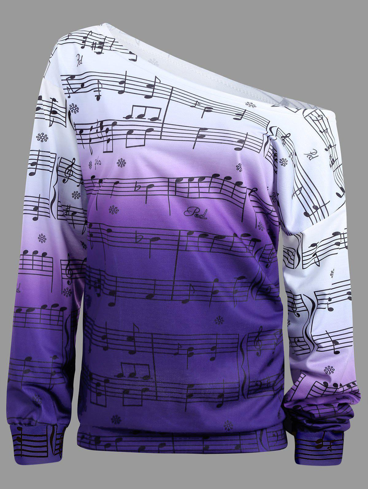 Musical Notes Printed Long Sleeves SweatshirtWOMEN<br><br>Size: M; Color: PURPLE; Material: Polyester; Shirt Length: Regular; Sleeve Length: Full; Style: Fashion; Pattern Style: Print; Season: Fall,Winter; Weight: 0.3500kg; Package Contents: 1 x Sweatshirt;