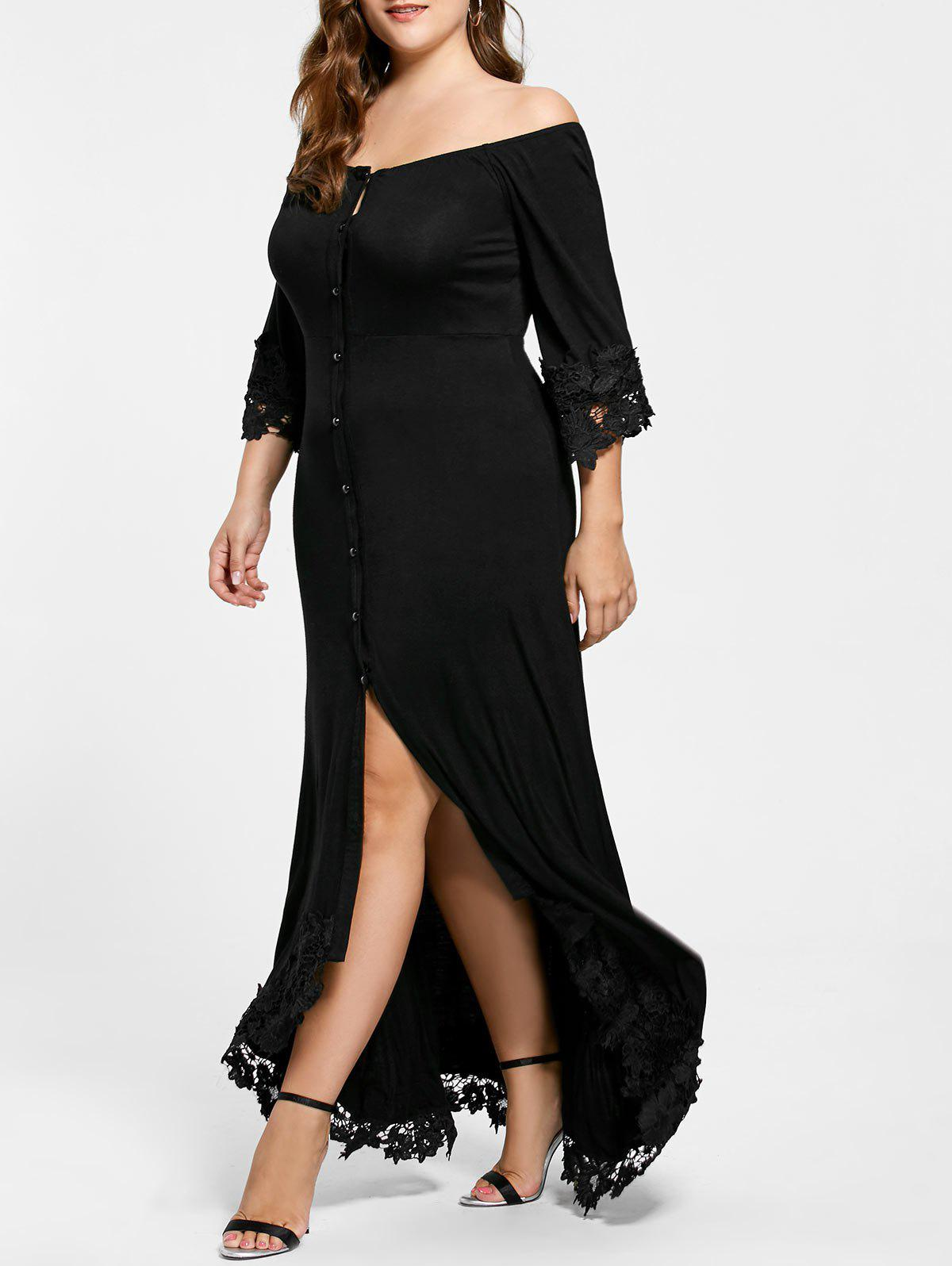 Lace Insert Off The Shoulder Plus Size Holiday DressWOMEN<br><br>Size: 5XL; Color: BLACK; Style: Brief; Material: Cotton,Spandex; Silhouette: A-Line; Dresses Length: Floor-Length; Neckline: Off The Shoulder; Sleeve Length: 3/4 Length Sleeves; Pattern Type: Patchwork,Solid Color; With Belt: No; Season: Fall,Spring; Weight: 0.5800kg; Package Contents: 1 x Dress;