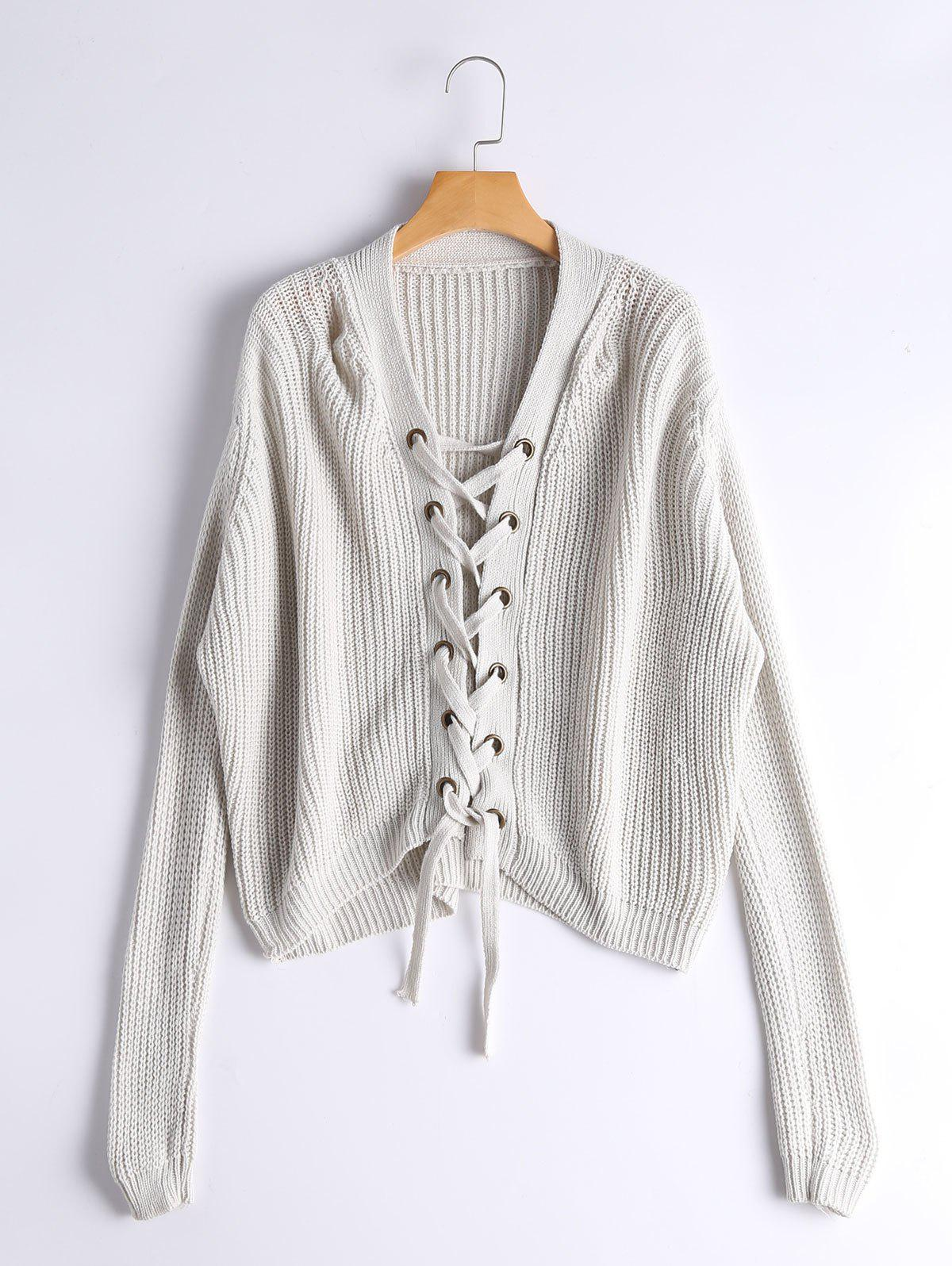 Ribbed Lace Up Chunky SweaterWOMEN<br><br>Size: ONE SIZE; Color: GRAY WHITE CAMOUFLAGE; Type: Pullovers; Material: Polyester,Spandex; Sleeve Length: Full; Collar: V-Neck; Style: Fashion; Pattern Type: Solid; Season: Fall,Winter; Weight: 0.4100kg; Package Contents: 1 x Sweater;
