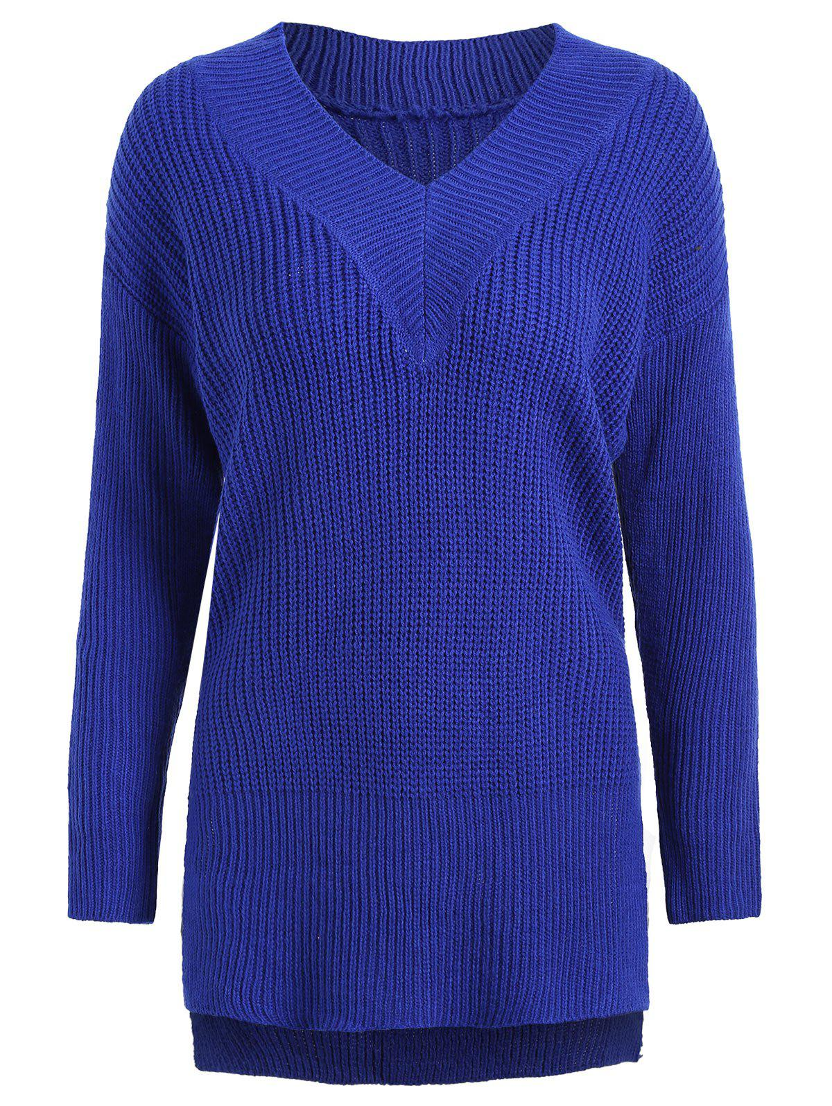 Shop Drop Shoulder High Low Plus Size Sweater