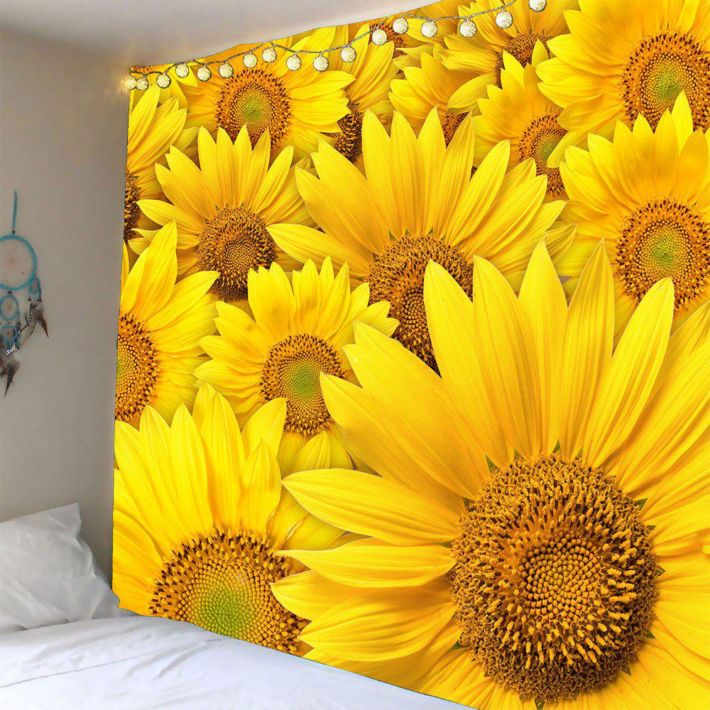 3D Sunflowers Printed Waterproof Wall Hanging TapestryHOME<br><br>Size: W59 INCH * L51 INCH; Color: YELLOW; Style: Fresh Style; Material: Polyester; Feature: Removable,Washable,Waterproof; Shape/Pattern: Floral; Weight: 0.2100kg; Package Contents: 1 x Tapestry;