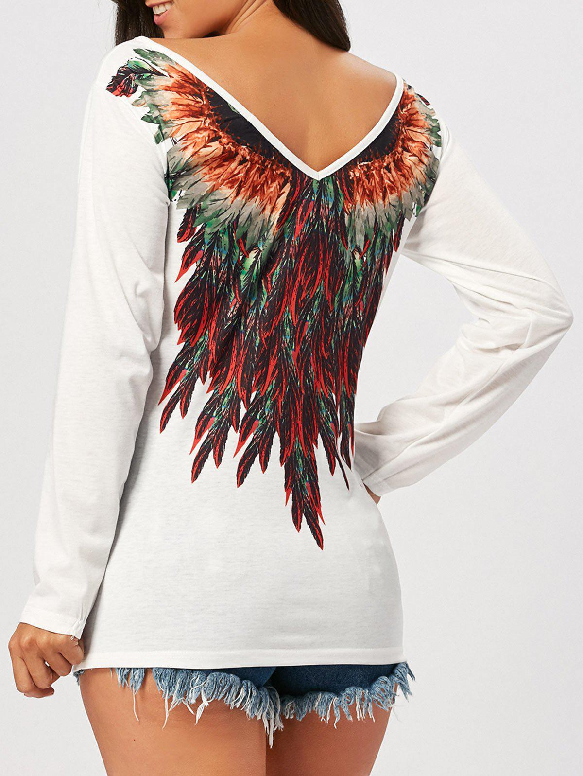 Tribal Feathers Print Long Sleeve T-shirtWOMEN<br><br>Size: S; Color: WHITE; Material: Polyester,Spandex; Shirt Length: Regular; Sleeve Length: Full; Collar: Round Neck; Style: Fashion; Pattern Type: Feather,Print; Season: Fall,Spring; Elasticity: Micro-elastic; Weight: 0.2700kg; Package Contents: 1 x T-shirt;