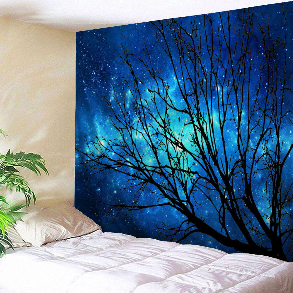 Galaxy Tree Printed Wall Hanging TapestryHOME<br><br>Size: W91 INCH * L71 INCH; Color: DEEP BLUE; Style: Natural; Theme: Landscape; Material: Polyester; Feature: Removable,Washable; Shape/Pattern: Print; Weight: 0.3800kg; Package Contents: 1 x Tapestry;