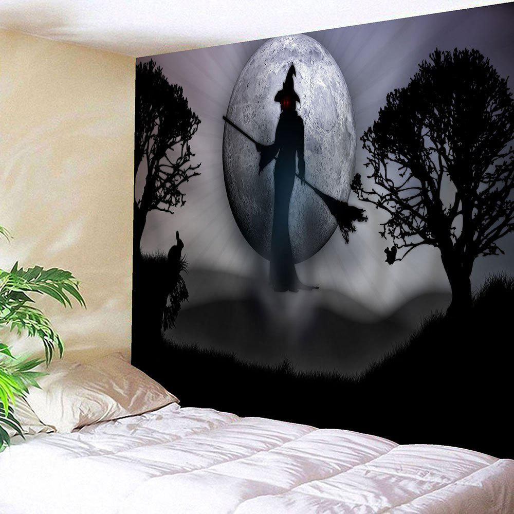Wall Hanging Halloween Witch Print TapestryHOME<br><br>Size: W91 INCH * L71 INCH; Color: GRAY; Style: Festival; Theme: Halloween; Material: Cotton,Polyester; Feature: Removable,Washable; Shape/Pattern: Figure,Moon,Plant; Weight: 0.3950kg; Package Contents: 1 x Tapestry;