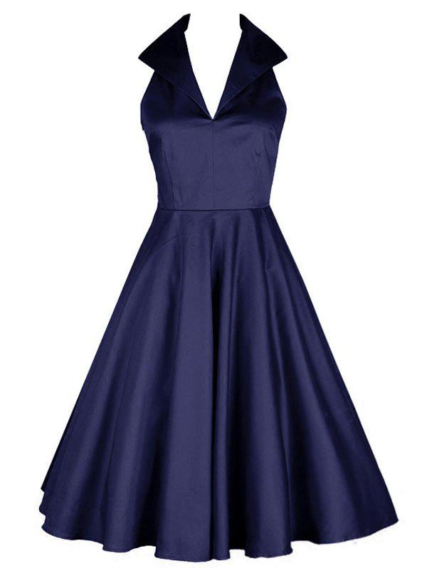 7b031f636c5 Affordable Vintage Turn Down Collar Skater Prom Pin Up Dress