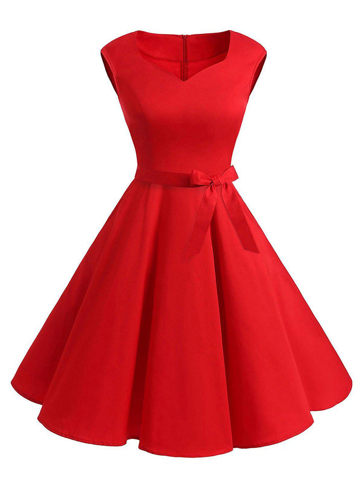 V Neck Mini Skate Party DressWOMEN<br><br>Size: M; Color: RED; Style: Vintage; Material: Cotton,Polyester; Silhouette: A-Line; Dresses Length: Mini; Neckline: V-Neck; Sleeve Length: Sleeveless; Pattern Type: Solid; With Belt: Yes; Season: Fall,Spring,Summer; Weight: 0.3700kg; Package Contents: 1 x Dress   1x Belt;