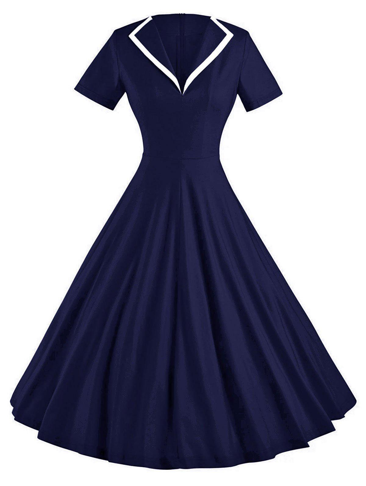 Vintage Skate Party Pin Up DressWOMEN<br><br>Size: L; Color: DEEP BLUE; Style: Vintage; Material: Cotton,Polyester,Spandex; Silhouette: A-Line; Dresses Length: Knee-Length; Neckline: Turn-down Collar; Sleeve Length: Short Sleeves; Pattern Type: Solid Color; With Belt: No; Season: Fall,Spring,Summer; Weight: 0.4000kg; Package Contents: 1 x Dress;