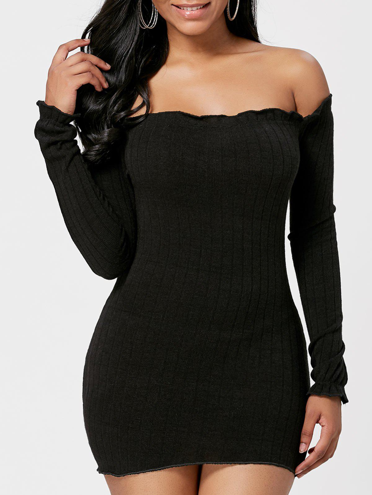 Shop Off The Shoulder Mini Sweater Dress